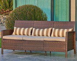 Suncrown Outdoor Modular Furniture Patio Sofa Couch (Seats 3) Garden, Backyard, Porch or Pool |  ...
