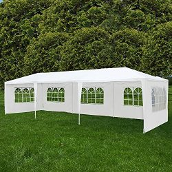 Uenjoy 10'x30′ Party Canopy Wedding Tent Event Tent Outdoor Gazebo White 5 Sidewall