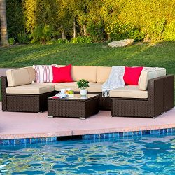Best Choice Products 7-Piece Outdoor Patio Rattan Wicker Sectional Conversation Sofa Set w/Table ...