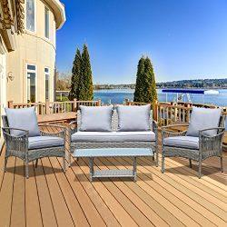 TANGKULA 4PCS Patio Rattan Chair Furniture Set Outdoor Garden Lawn Wicker Rattan Sofa Furniture  ...