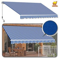 Strong Camel 10′ x 8′ Manual Yard Retractable Patio Deck Awning Cover, Canopy Sunsha ...