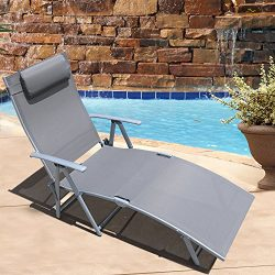 Le Papillon Adjustable Chaise Lounge Chair Recliner Outdoor Patio Pool Folding Lounge Chair &#82 ...
