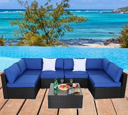 Leaptime Outdoor Garden Patio Rattan Furniture Set Wicker Sofa Conversation Set Cushioned Black  ...