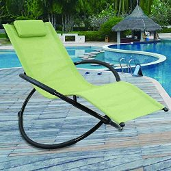 GREARDEN Outdoor Lounge Chair Orbital Zero Gravity Patio Chaise Lounge Rocking Lounger with Remo ...