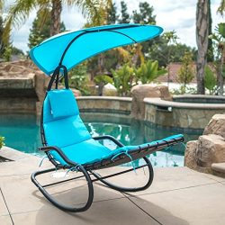 Belleze Hanging Rocking Lounge Chair Sun Shade Chaise Chair Powder Coated Arc Frame Padded Cushi ...