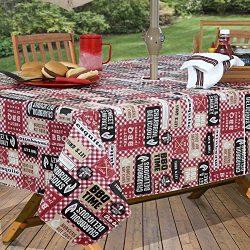 Everyday Luxuries by Newbridge Mesquite BBQ Flannel Backed Indoor Outdoor Vinyl Table Linens, 60 ...