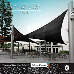 Royal Shade 16′ x 16′ x 16′ Black Triangle Sun Shade Sail Canopy Outdoor Patio ...