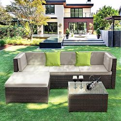 IKAYAA Outdoor Patio Furniture Set, 5 Piece Wicker Rattan Sectional Sofa Set with Soft Cushions, ...