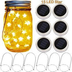 Solar Mason Jar Lid Lights,6 Pack 15 Star Shape LEDs Fairy Firefly String Jar lights,6 Mason Jar ...
