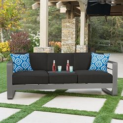 Crested Bay Patio Furniture | Outdoor Grey Aluminum Sofa Couch with Dark Grey Water Resistant Cu ...
