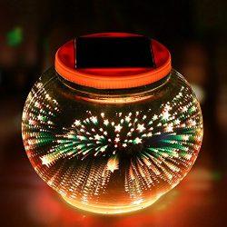 Color Changing Solar Powered Glass Ball Garden Lights, Aukora 3D Star Pattern Solar Table Lights ...