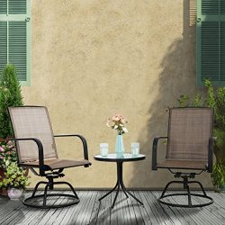 PHI VILLA 3 PC Swivel Chair Set Patio Bistro Set With 2 Chairs and 1 Table, Brown