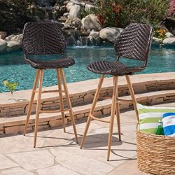 Great Deal Furniture Amaya Outdoor Multibrown Wicker Barstools with Brown Wood Finish Metal Legs ...