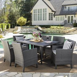 Cerrenne Outdoor 7 Piece Grey Wicker Rectangular Dining Set with Light Grey Water Resistant Cushions