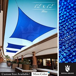 Royal Shade 12′ x 12′ Blue Square Sun Shade Sail Canopy Outdoor Patio Fabric Shelter ...