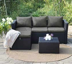 View & co Patio Furniture 3 PCS Outdoor Sectional Furniture Set P.E Rattan Conversation Sets ...