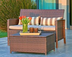 Suncrown Outdoor Modular Furniture Wicker Love-seat with Coffee Table (2-Piece Set) Built-in Sto ...