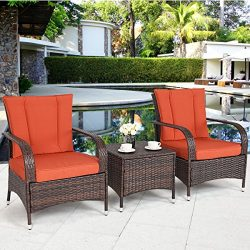 TANGKULA 3 Piece Patio Furniture Set Wicker Rattan Outdoor Patio Conversation Set with 2 Cushion ...