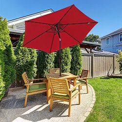 COBANA Patio Umbrella, 7.5′ Outdoor Table Market Umbrella with Push Button Tilt/Crank, 6 R ...