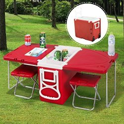 Giantex Rolling Cooler Picnic Table Multi Function For Picnic Fishing Portable Storage Food Beve ...