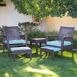 AURO Brisbane Outdoor Furniture | 5-Piece Lounge Chair & Ottoman | All-Weather Brown Wicker  ...