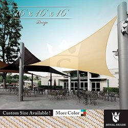 Royal Shade 16′ x 16′ x 16′ Beige Triangle Sun Shade Sail Canopy Outdoor Patio ...