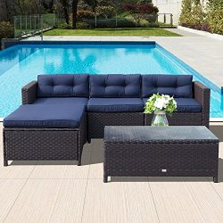 Orange Casual 5Pcs Outdoor Patio Wicker Sofa Set Sectional Conversation Sets Rattan Patio Furnit ...