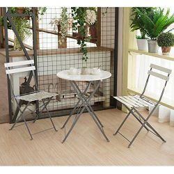 CO-Z 3-Piece Steel Outdoor Patio Set, Folding Dining Set, Bistro-Style Outdoor Furniture for Bac ...