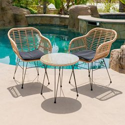 Belleze 3-pieces Outdoor Patio Wicker Chair Bistro Set Cafe Coffee Table UV Resistant w/Cushion, ...