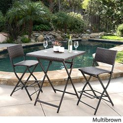 Marinelli 3 Piece Outdoor Wicker Folding Bar Set