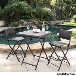 Marinelli 3 Piece Outdoor Wicker Folding Bar Set