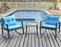 Leisure Zone Outdoor Patio 3 PCS Wicker Rocking Bistro Set Porch Deck Rockers with Coffee Table  ...