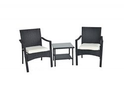 Outdoor/Indoor Rattan Patio Furniture Cushioned Conversation Chair & Table Sets-Easy Assembl ...