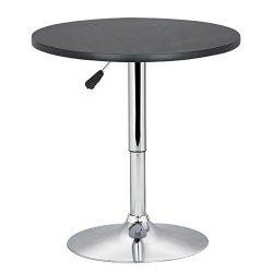 World Pride Black Round Pub Table Outdoor/Indoor Swivel Pedestal Table Adjustable 24~35 Inch