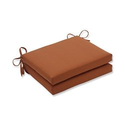 Pillow Perfect Indoor/Outdoor Cinnabar Squared Seat Cushion, Burnt Orange, Set of 2