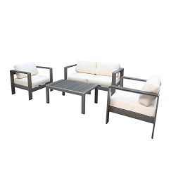 babylon Patio Furniture Set Garden Lawn Pool Backyard Aluminum Outdoor Conversation Set with Wea ...