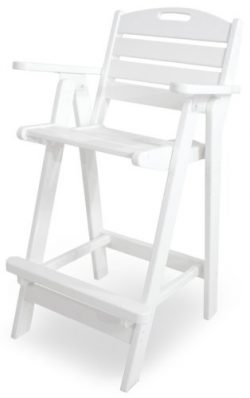POLYWOOD NCB46WH Nautical Bar Chair, White