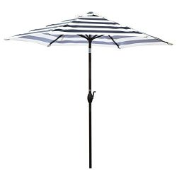 Abba Patio 9-Feet Round Market Table Umbrella with Push Button Tilt and Crank Lift, Black Striped