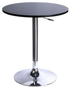 Leopard MDF Round Top Adjustable Bar Table,Pub Table With Silver Leg and Base, Black