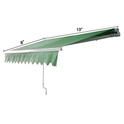 MCombo 10×8 12×10 Ft Manual Retractable Patio Deck Awning Sunshade Shelter Outdoor Can ...