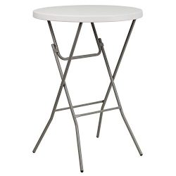 "Flash Furniture 32"" Round Granite White Plastic Bar Height Folding Table"