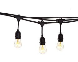 NIOSTA 48 Ft Outdoor Hanging Patio String Lights-Vintage Backyard Lights with 16 Clear S14 Bulbs ...