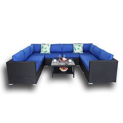 Outdoor Black Rattan Wicker Sofa Set Garden Patio Furniture Cushioned Sectional Conversation Set ...