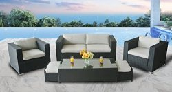 StellaHome Outdoor Patio Furniture Sectional Wicker 6Pcs Sofa Couch Set Waterproof Cushioned w/F ...
