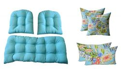 3 Pc Wicker Cushion Set – Solid Cancun Blue Cushions + 4 FREE Tropical Postcard Pillows &# ...