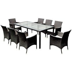 TANGKULA 9PCS Patio Wicker Furniture Set Outdoor Garden Modern Wicker Rattan Dining Table Chairs ...
