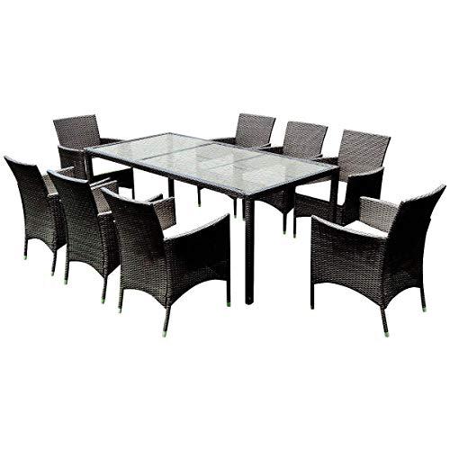 Tangkula 9pcs Patio Wicker Furniture Set Outdoor Garden