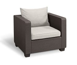 Keter Salta All Weather Outdoor Patio Armchair with Sunbrella Cushions in a Resin Plastic Wicker ...