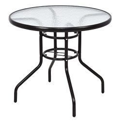 TANGKULA Patio Table 31.5″ Tempered Glass Top Metal Frame Outdoor Garden Poolside Balcony  ...