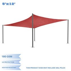 E&K Sunrise 8′ x 12′ Red Rectangle Sun Shade Sail Outdoor Shade Cloth UV Block F ...
